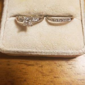 Jewelry - Diamond wedding ring set Princess cut- Make Offer!